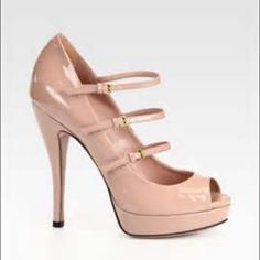"GUCCI Triple Strap Platform Mary Jane Pump, Nude GUCCI Triple Strap Platform Mary Jane Patent leather Pump in a stunning Nude Barely there pink color as seen on Julia Roberts. Three Mary Jane style straps. Peep-toe. 5 1/3"" covered heel with 1"" platform. Very elegant. Only worn once. Gucci shoe bag and Gucci shoe box included. Gucci Shoes Heels"