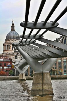 Millenium bridge, headed away from The Globe towards St. Paul's Cathedral.