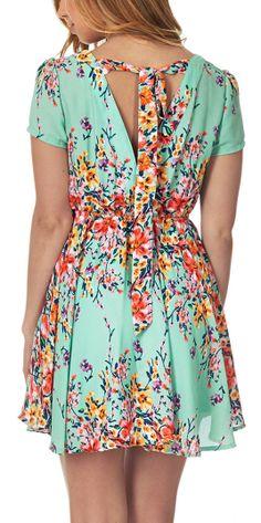 Mint floral tie back dress