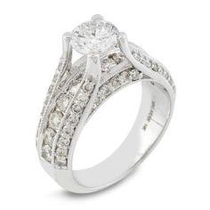 #Malakan #Jewelry - White Gold Diamond Engagement Ring 63375A #Bridal #Weddings #EngagementRings #Diamonds