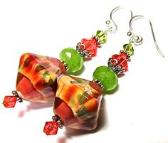 Glass Earrings with Handmade Lampwork Beads by SRA Artist with Swarovski Crystals, Sterling Silver Earwires and Components, and Jade Beads