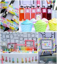 Girly Art Party: love the black and white picture frame backdrop and paintbrush garland