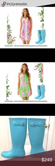 Hunter Limited Ed Matte Turquoise Blue Rain Boots Very Limited Production. Harder to find than Tiffany Blue color. Match the Hunter boots with a cute Lilly flora dress, you are vague cover worthy. New without original box. Women's 9. Hunter Boots Shoes Winter & Rain Boots