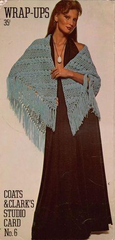 Coats Clark Wrap-Ups Studio Card #6 Knitting Crochet Patterns Cape Poncho 1972 #CoatsClark