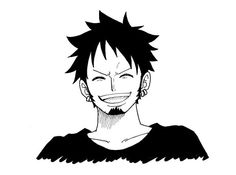 Trafalgar Law - Laughing. Hope to see that face in the real series :< he had enough sad past.