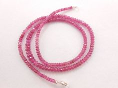 "AAA++ Genuine Pink Tourmaline Faceted Rondelle Gemstone Beads 19"" Necklace 3-5mm #GemstoneTopper #Faceted"