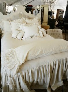 Fiona and Twig: Dreamy Bedding! The Sweet Pea Collection- Dreamy, dreamy, cool and creamy! Grown Up Bedroom, Bedroom Bed, Dream Bedroom, Home Decor Bedroom, Master Bedroom, Shabby Chic Bedrooms, Shabby Chic Cottage, Shabby Chic Decor, Cozy Cottage