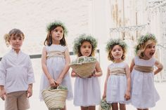 Flower girls, baby breath wreaths on head, big group, love the ring barrer outfits too! Wedding Art, Chic Wedding, Wedding Styles, Dream Wedding, Flower Girls, Flower Girl Dresses, Floral Dresses, Wedding With Kids, Perfect Wedding