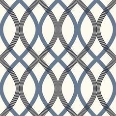 Contour Blue Geometric Lattice Wallpaper Bolt - contemporary - Wallpaper - Brewster Home Fashions