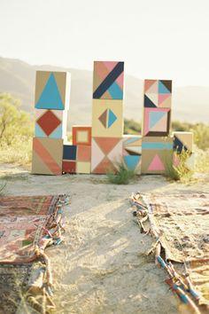 aztec wedding style geometric aisle backdrop wedding style