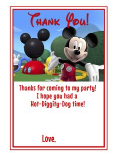 Mickey Mouse Clubhouse themed 2nd Birthday: Thank You cards (blank space for personal message)  Custom orders available at w…