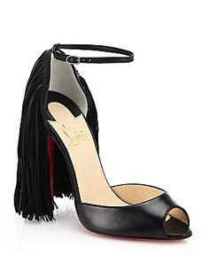 Christian Louboutin Otrot Leather Fringed Sandals