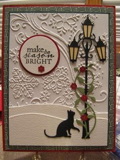 Cat by - Cards and Paper Crafts at Splitcoaststampers homemade. - espanpinCurious Cat by - Cards and Paper Crafts at Splitcoaststampers homemade. - espanpin VIDEO: 2019 Stampin Up Holiday Catalog kick off and over 70 ideas – Episode 85 Homemade Christmas Cards, Christmas Cards To Make, Homemade Cards, Handmade Christmas, Cricut Christmas Cards, Christmas Cookies, Memory Box Cards, Karten Diy, Cat Cards