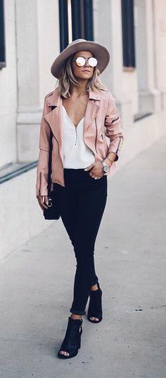 Womens fashion   fall   style   fashion   outfit   street style   blush   jacket   hat   heels   Instagram: @joandkemp