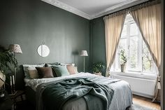 Guide To Discount Bedroom Furniture. Bedroom furnishings encompasses providing products such as chest of drawers, daybeds, fashion jewelry chests, headboards, highboys and night stands. Olive Green Bedrooms, Olive Bedroom, Green Bedroom Walls, Green Bedroom Design, Green Rooms, Bedroom Color Schemes, Bedroom Colors, Dream Bedroom, Home Decor Bedroom