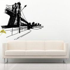 Wall Decal Art Decor Decals Sticker Bedroom Design Mural Bridge City House River Water (M914) DecorWallDecals http://www.amazon.com/dp/B00IIO30V6/ref=cm_sw_r_pi_dp_ABH2ub0ABWS2H