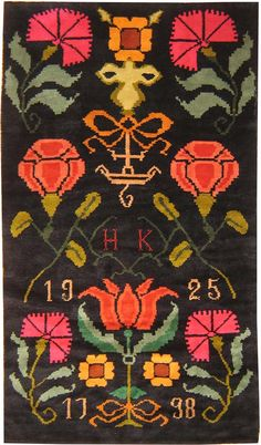 Size: 4 ft 6 in x 7 ft 7 in m x m) - Antique Finnish Rya, dated 1925 - This antique Finnish Rya has a classic Scandinavian folk art design of the eighteenth century rendered with absolute fidelity - a hallmark of authentic vintage rugs. Textiles, Textile Patterns, Textile Art, Rya Rug, Scandinavian Folk Art, Scandinavian Christmas, Home Decoracion, Magic Carpet, Rug Hooking