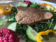 Tuna Steak with Fresh Beetroot Puree - Helen Mileham - IBS Specialist, Glorious Food, Kings Lynn, Norfolk Tuna Recipes, Free Recipes, Salad Recipes, Ibs Relief, Tuna Steaks, Tuna Salad, How To Squeeze Lemons, Beetroot, Fresh Herbs