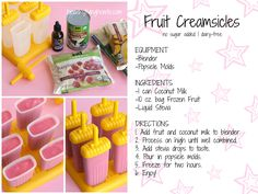 Fruit Creamsicles Recipe Card / http://healthylivinghowto.com/1/post/2013/06/fruit-creamsicles-dairy-free-no-sugar-added.html