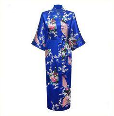 Blue Plus Size XXXL Japanese Geisha Yukata Kimono Bathrobe Women Satin Robe Sexy Sleepwear Flower Nightgown Mujer Pijama NR063