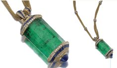 EMERALD, SAPPHIRE AND DIAMOND PENDENT NECKLACE - HEMMERLÉ. Suspending a large emerald crystal embellished with calibré-cut and cabochon sapphires, brilliant-cut and baguette diamonds, to a multiple fine chain necklace set with sapphires and diamonds, mounted in yellow gold.  SOtheby's