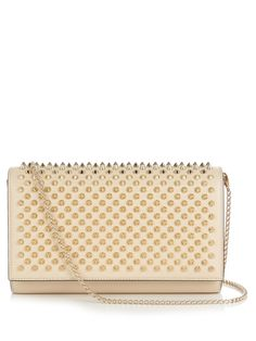 d6045d75edf84a Christian Louboutin Paloma spike-embellished leather clutch ($991) ❤ liked  on Polyvore featuring