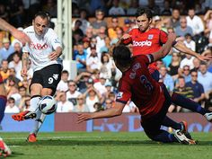 Fulham go ahead against the Baggies, Dimitar Berbatov steadies himself before finding the top corner on his home debut.