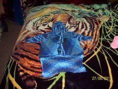 Hand knitted babies sleeping bag