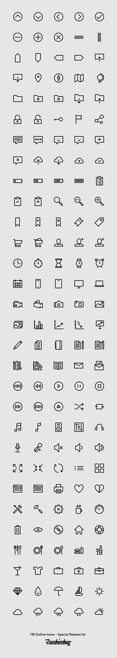 A simple but useful 150 outlined icons available in PSD, AI, EPS and an awesome Webfont ready to be included in your website.