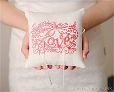 Ann  6x6 Wedding ring pillow  Embroidery by HannahAspensbridal, $19.00