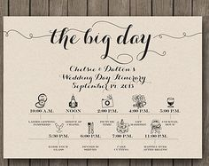 Wedding Day Schedule Of Events  Itinerary For Guests  Big Day