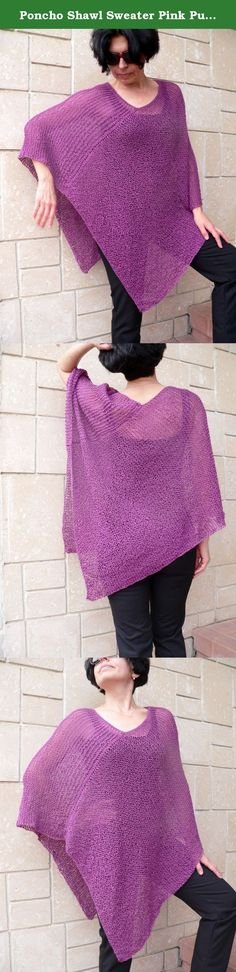 Poncho Shawl Sweater Pink Purple Merlo Acrylic Vegan Yarn Handknit. Pink, purple, merlo handknit poncho, sweater, loose fit, loose neckline, cover up, shrug cape on the shoulders, shawl wrap shrug. Perfect for wearing over a jumpsuit, sleeveless long skirt, jeans, leggings! Very soft material which feels good and not scratchy! This poncho is very comfortable and pleasant to the touch. Rolled up in the neck, under a jacket or on a dress, with jeans or skirt. Ultra soft acrylic handmade…