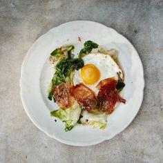 Escarole with Crispy Ham and Eggs Recipe | Bon Appétit Egg Recipes, Cooking Recipes, Prosciutto Recipes, Charcuterie Recipes, Ham And Eggs, Chorizo, Cravings, Stuffed Peppers, Eat