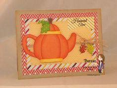 Theresa's Crafty Creations Craftin Desert Diva's KaDoodle Bug Designs Fall Pumpkin Harvest Card Leaves Tea