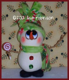 hand painted snowman gourd winter christmas candy by primchick, $32.99