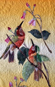 Hummingbird Art Quilt by TimelessDog on Etsy