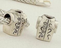 Sterling Silver Shopping Clothes White Birthstone Charms - Charms with Stones - Charms - LYDIA JEWELLERY