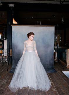 NIGHTINGALE grey tulle wedding dress / http://www.deerpearlflowers.com/emily-riggs-bridal-romantic-lace-wedding-dresses/