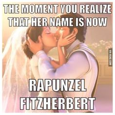 So, is Rapunzel the only princess with an actual last name now? I can't think of any other Disney princess that EVER had a last name, married or unmarried. Disney Pixar, Gif Disney, Disney Jokes, Disney Tangled, Disney And Dreamworks, Disney Magic, Walt Disney, Disney Wiki, Punk Disney