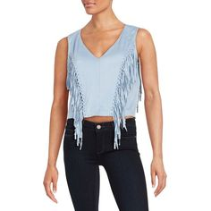 Design Lab Lord & Taylor Fringed Faux Suede Top ($41) ❤ liked on Polyvore featuring tops, powder blue, fringe top, sleeveless tops, faux suede top, crop top and blue sleeveless top