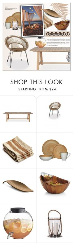 """""""Summer Outdoor Dining"""" by cruzeirodotejo ❤ liked on Polyvore featuring interior, interiors, interior design, home, home decor, interior decorating, Libeco Home, Mikasa, Nambé and CB2"""