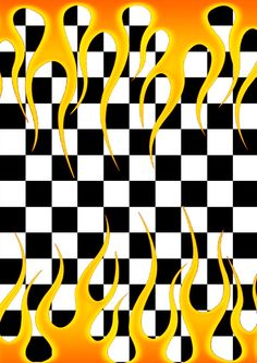 Checkered Flames Double Sides Wallpaper Made By