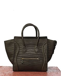 ccaee4f6ac83 Celine Black Croc Mini Luggage Bag Celine Tote