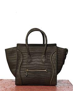 Celine Black Croc Mini Luggage Bag