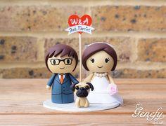 Bride and groom with pug wedding cake topper by Genefy Playground.  https://www.facebook.com/genefyplayground