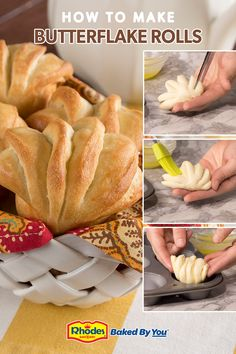 These soft Butterflake Dinner Rolls are just that...buttery and DELICIOUS! Use Rhodes frozen yeast dough, no one will ever know you didn't spend hours in the kitchen. Biscuit Bread, Biscuit Recipe, Easy Baking Recipes, Cooking Recipes, Thanksgiving Recipes, Holiday Recipes, Cooking Bread, Dinner Rolls, Brunch