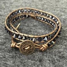 Swarovski Crystal Leather Wrap Bracelet  Indigo by IntendedDesigns