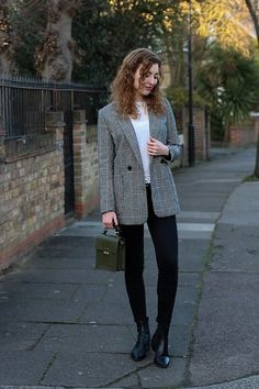 Summer Read - H&M Prince Of Wales Print Blazer, Zara Mini Khaki Bag, Vagabond Marja Boots - Gentlewoman