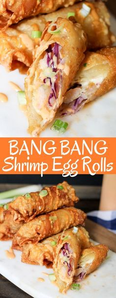 Bang Bang Shrimp Egg Rolls are filled with delicious shrimp, slaw, and the super. Bang Bang Shrimp Egg Rolls are filled with delicious shrimp, slaw, and the super popular Bang Bang sauce! Perfect game day snack or appetizer! Best Chinese Food, Authentic Chinese Recipes, Chinese Chicken Recipes, Easy Chinese Recipes, Asian Recipes, Chinese Meals, Recipe Chicken, Chicken Salad, Chinese Desserts