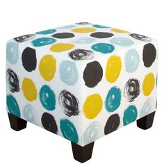 Skyline Furniture Peacock Brushed-dot Square Ottoman (Peacock), Green (Fabric)